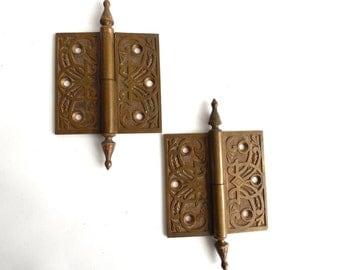 Set 2 pcs Brass Hinges, Authentic Antique Hinges, Victorian ornate antique Hinges. Door Hinges. #643G5DCK13