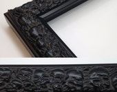 SKULL Picture Frame, Black, 3x5, 4x6, 5x7, 8x10, 11x14, 16x20, 18x24 + Custom Sizes, Black Skull Frame, Black Skulls, All Wood Frame, Skull