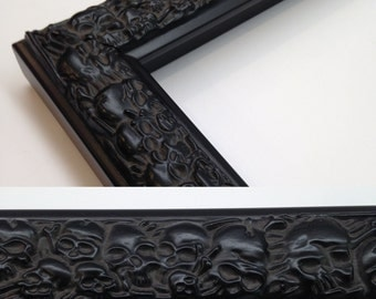 SKULL Picture Frame, Skull Black, 3x5, 4x6, 5x7, 8x10, 11x14, 16x20 Custom Sizes, Black Skull Frame, Black Skulls, All Wood Frame, Skull