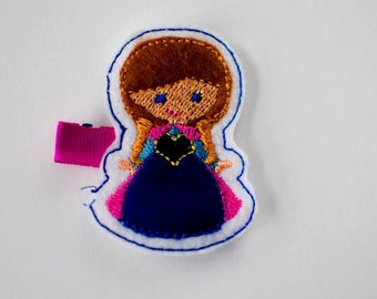SALE Frozen Anna felt embroidered hair clip