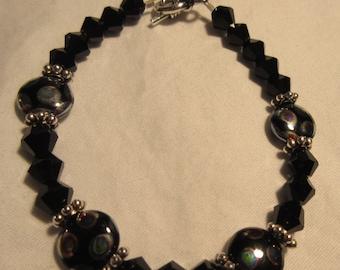 Czech Glass Black and Lentil Spotted Glass Beaded Bracelet
