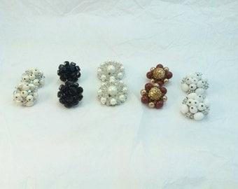 SALE Vintage cluster earrings lot of 5 pair