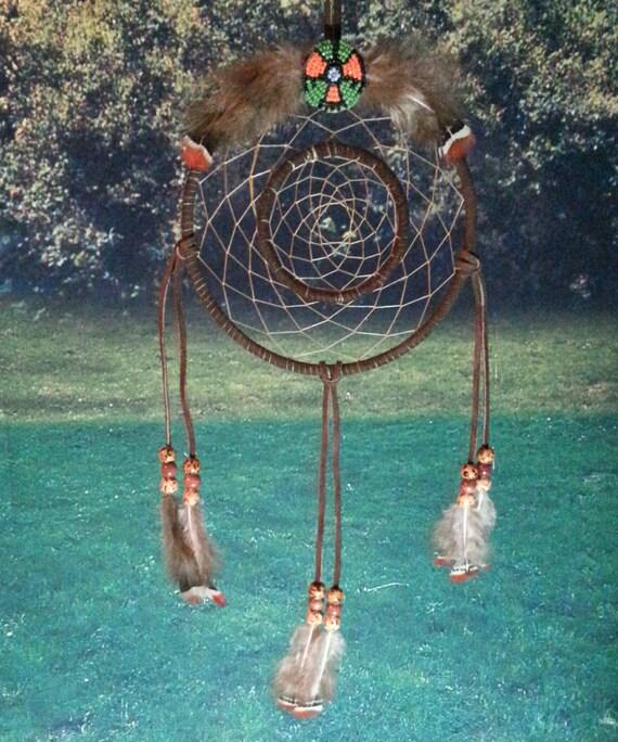 Dreamcatcher in a dream catcherbrown double ring dream for How to make a double ring dreamcatcher