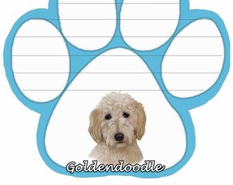 Goldendoodle Notepad With Unique Die Cut Paw Shaped Sticky Notes 50 Sheets Measuring 5 by 4.7