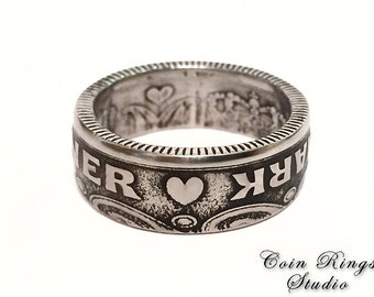 Danish Coin Ring - Souvenir from Denmark Krone - Rings from Coins t - Danmark - Danske - Valentine's Day - With Heart - For her - For him