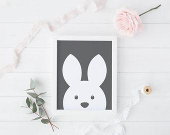 Rabbit - Kids Printable art , Instant download,  Wall Art , Nursery