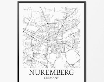 Nuremberg Etsy - Germany map nurnberg