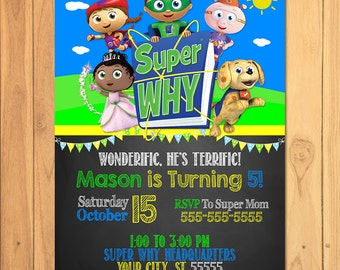 Super Why Invitation Chalkboard * Super Why Birthday * Super Why Printables * Super Why Invite * Super Why Party Favors