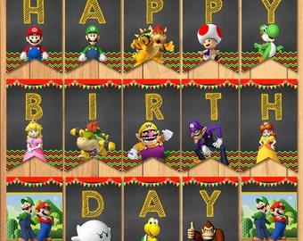 Super Mario Brothers Birthday Banner Chalkboard * Super Mario Brothers Birthday * Mario Kart Printables * Mario Party * Mario Favors