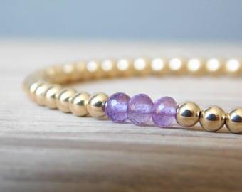 Amethyst and Gold-Filled Bead Bracelet, Birthstone Bracelet, February Birthstone, Purple Bracelet, Semi-Precious Gemstone Bracelet