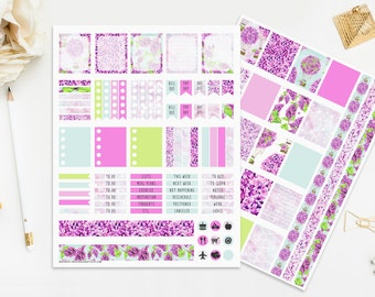Lilac Printable Planner Stickers Digital Planners Instant Download Violets Hot Air Balloons Purple Cute Spring Romantic Wedding Print Cut