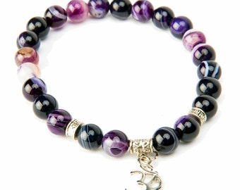OM Yoga Bracelet Purple Botswana Banded Agate