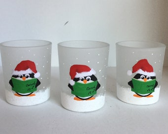 Hand Painted Penguin Glass Votive Candle Holders - Set of 3 Christmas Caroling Penguin Candle Holders