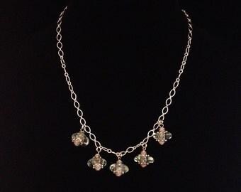 Five Hanging Bead Aqua Handblown Glass Necklace (N40)