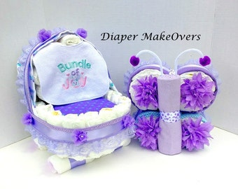 Baby Girl Gift Set - Girl Diaper Cake - Unique Baby Shower Centerpiece - Unique Baby Gift - Butterfly and Baby Carriage Diaper Cake