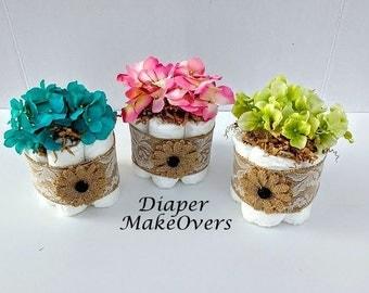 Mini Diaper Cake - Spring Flowers Mini Diaper Cake - Baby Shower Centerpiece - Shower Decorations - Rustic Burlap Lace MINI Diaper Cake