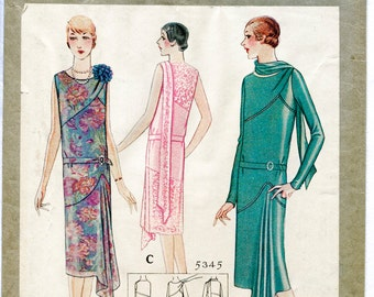 1920s 1930s repro vintage sewing pattern flapper day or evening dress bias cut drop waist small medium bust 35 1/2 reproduction