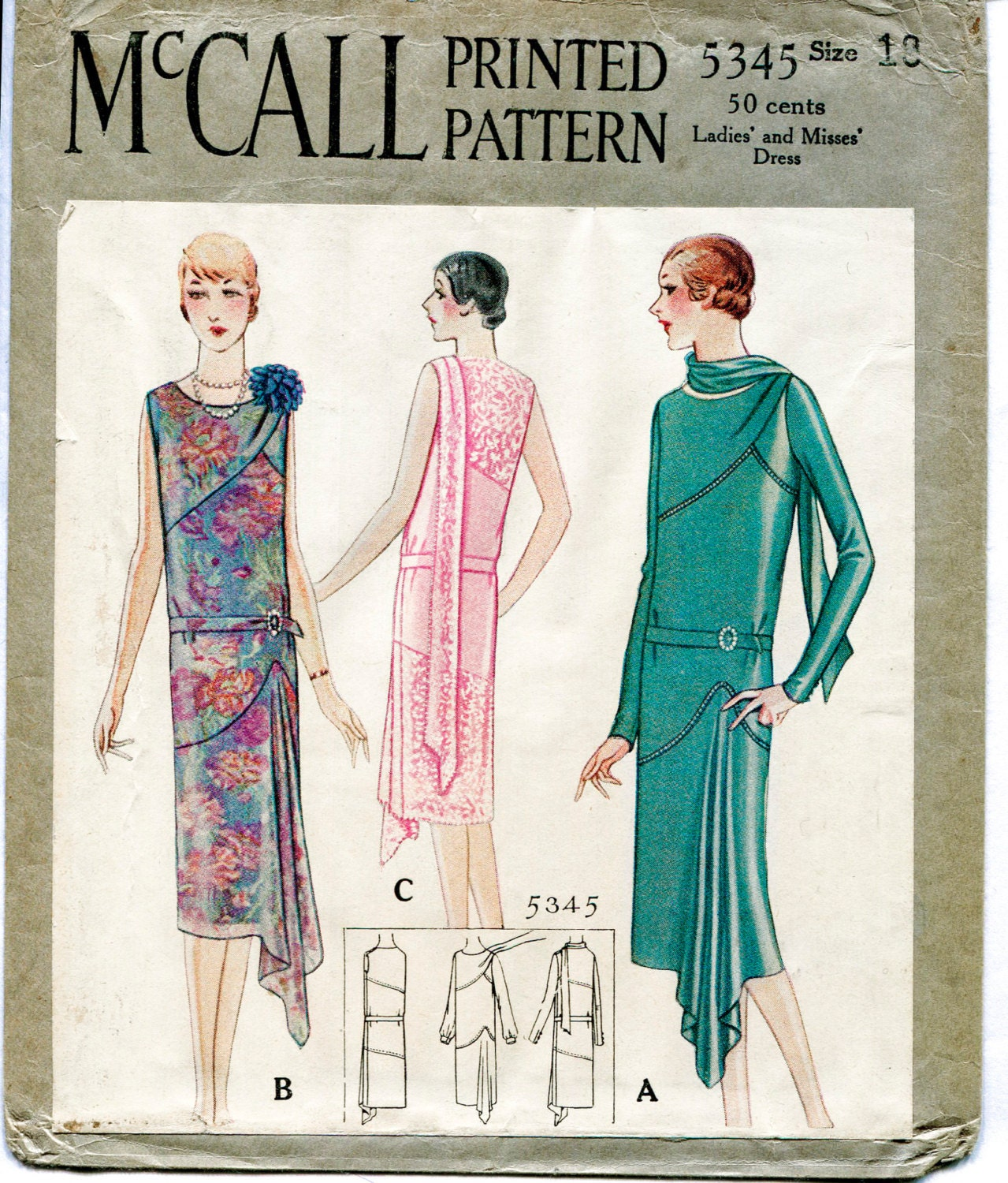 1920s 1930s repro vintage sewing pattern flapper day or