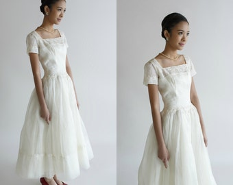 Vintage Tea Length Wedding Dress / 1950s Wedding Dress