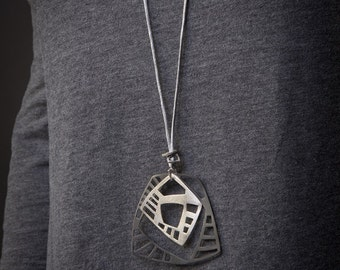 Geometrical Collection, 2 squares black oxidized silver 925 and sterling silver pendant,geometrical charm,