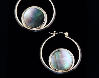 Silver Hoop Earrings with Mother of Pearl (ER007)
