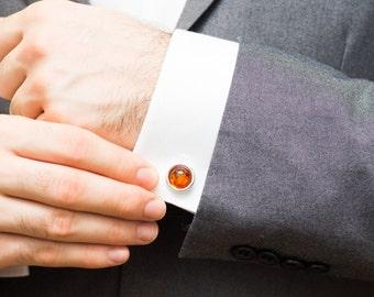Round Amber Stone Cufflinks, Silver Amber Cufflinks, Groom Wedding Cufflinks, Gift Idea for Men, Anniversary Present, Unique Cufflinks, him