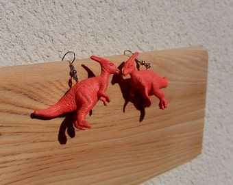 orange salmon dinos dinosaurs colorful cute earrings