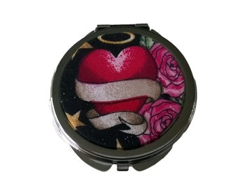 SALE Dark Valentine Black Red and Pink Heart and Roses Compact Handbag Mirror