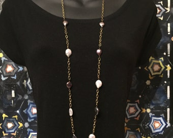 Light and Dark Purple Pearls with Gold Chain