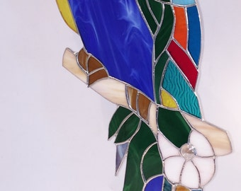 GIANT 25 INCH Stained Glass PARAKEET ! Handmade ! So Colorful