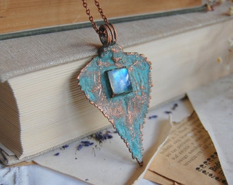 LORIEN - copper leaf and Moonstone pendant, statement pendant, verdigris patina, electroformed electroplated galvanized, copper jewelry