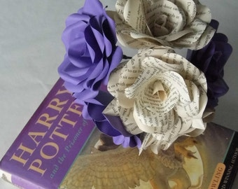 6 x Harry Potter Roses,  Book Paper Flower Roses, Purple Roses Mixed Bouquet, Handmade Paper Flowers, Hogwarts Gift