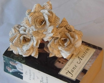 6 x Pride and Prejudice Paper Roses,  Book Page Paper Flower Roses, Handmade Paper Flowers,  Jane Austen