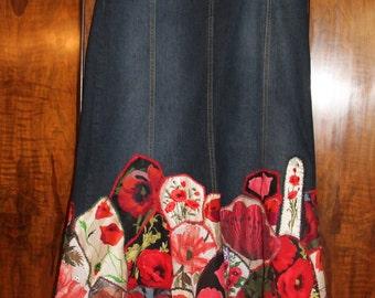 Poppy Fields-patchwork denim gypsy bohemian skirt