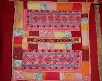 Sun patchwork quilt-vintage Hmong embroidery-Banjara mirrors - handmade