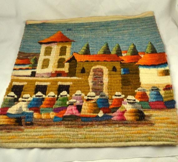 Folk Art Tapestry Peruvian Hand Woven Llama Wool Colorful