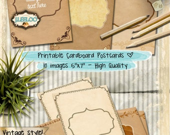 CARDBOARD CARDS 10 card 5x7 inch - label tag greeting card invitation backing - Digital collage sheet - instant download printable - pp294