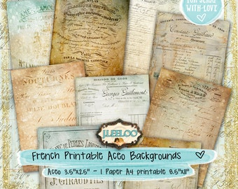 FRENCH WORDS aceo background paper goods - hobby crafting ephemera scrapbooking  digital collage - instant download printable - pp295