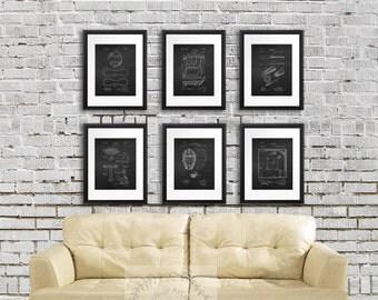 Baseball wall decor set of 6 patent prints chalkboard black and white prints, boys room baseball decor, kids room decor idea, baseball decor