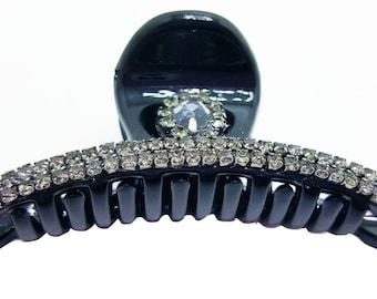 New Black  With Crystal &  Rhinestone 2 '' Hair Claw Clip