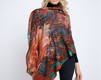 Luxury printed wool, silk and cashmere blend scarf