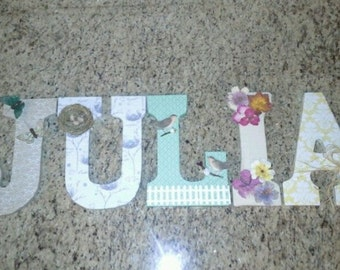 Decorative wood letters for babies, kids, and more.