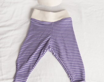 100% Merino Wool Baby Pants & Hat Set - Purple Stripe - 0-3m