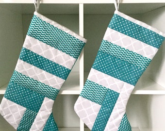 Modern Quilted Christmas Stockings, Teal, white, gray and silver, flannel lined.