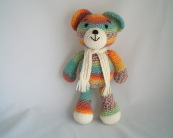 Crochet Teddy Bear / Crochet Amigurumi Teddy Bear / Cute, Cuddly Teddy Bear soft toy, with Scarf.