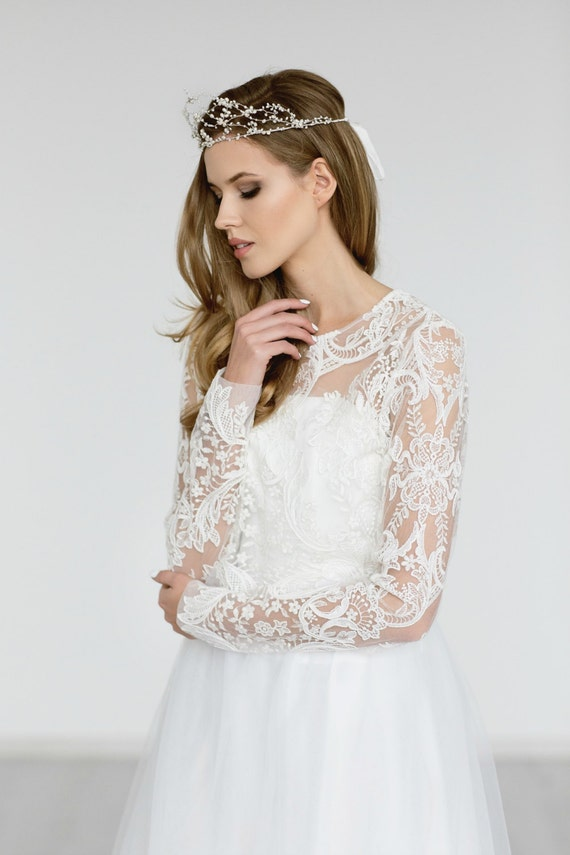Wedding lace top bridal lace topper ivory bridal by for Long sleeve wedding dress topper