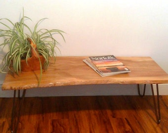 Rustic Modern Live Edge Elm Coffee Table