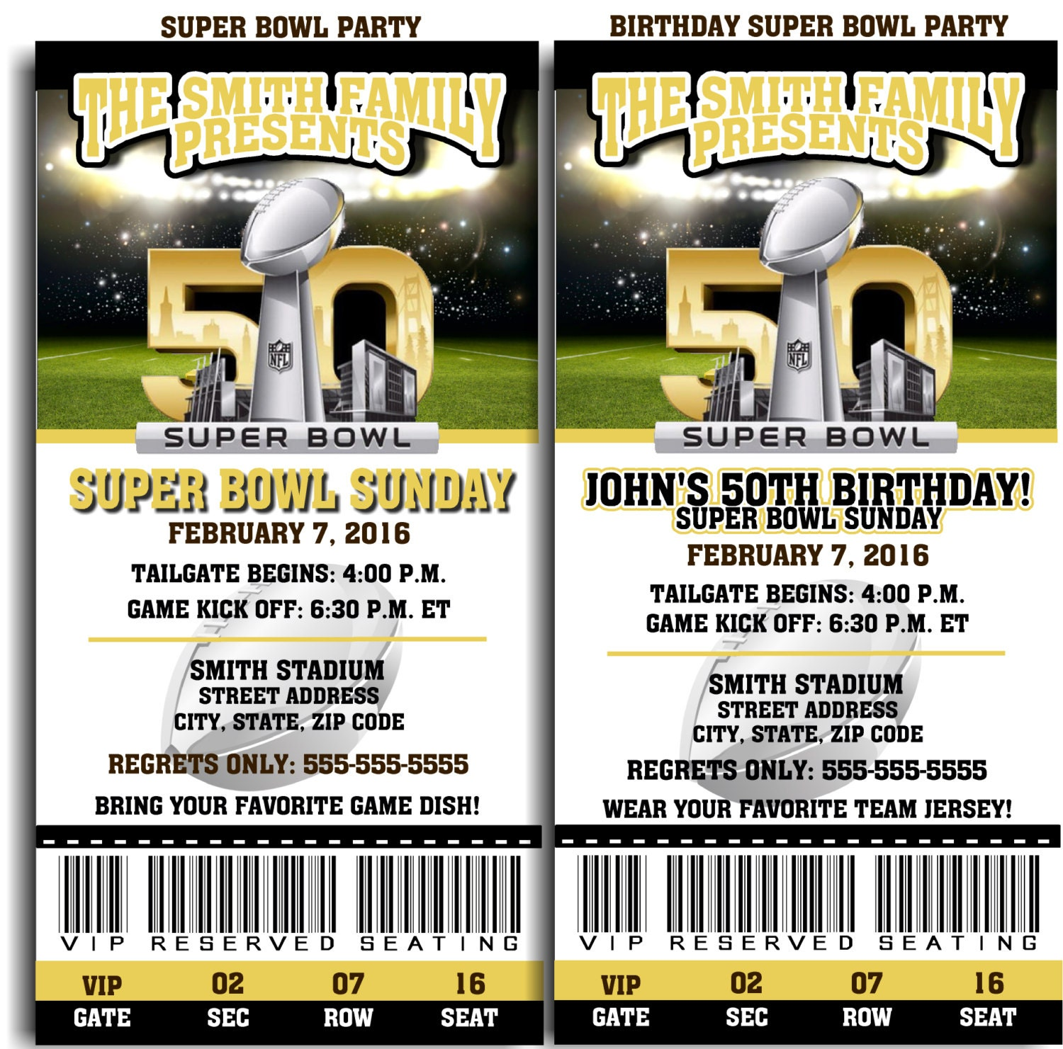 Printable Super Bowl 50 Invitations Or Birthday By QtPieWrappers