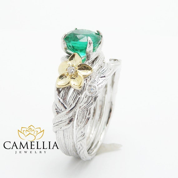 unique emerald engagement ring 14k gold twig engagement ring