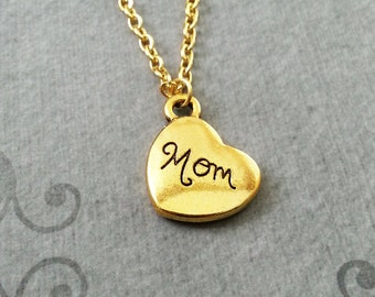 Mom Necklace SMALL Mom Jewelry Mom Heart Necklace Gold Mom Pendant Necklace Mother's Day Necklace Mother's Day Jewelry Mom Charm Necklace